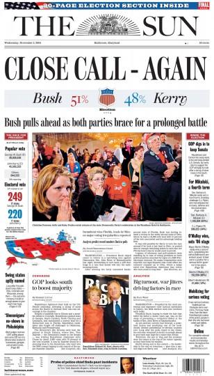 2004 Sun front page: CLOSE CALL - AGAIN (Nov.  3, 2004)