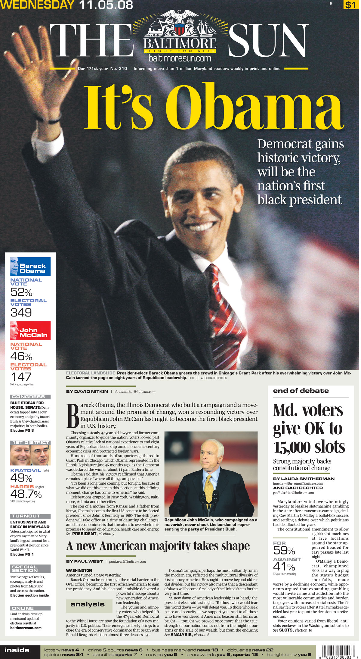 Sun front pages of U.S. presidential elections dating back to 1900