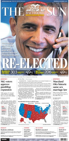 Nov. 7, 2012, Sun front page: RE-ELECTED