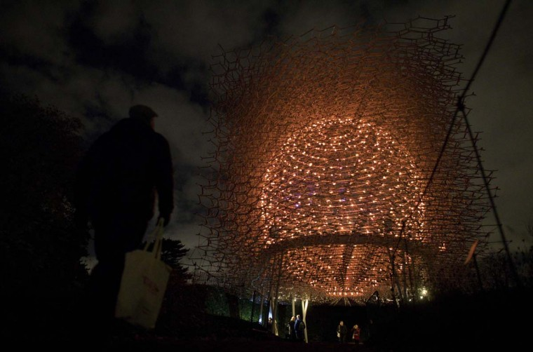 "People walk past Wolfgang Buttress' illuminated Hive Installation during a photocall at Kew Gardens in south west London, on November 22, 2016, during an event to promote the launch of the ""Christmas at Kew Gardens"" event. (JUSTIN TALLIS/AFP/Getty Images)"