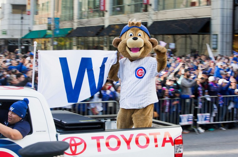 Chicago Cubs mascot Clark celebrates during the Chicago Cubs 2016 World Series victory parade on November 4, 2016 in Chicago, Illinois. The Cubs won their first World Series championship in 108 years after defeating the Cleveland Indians 8-7 in Game 7. (Photo by Tasos Katopodis/Getty Images)