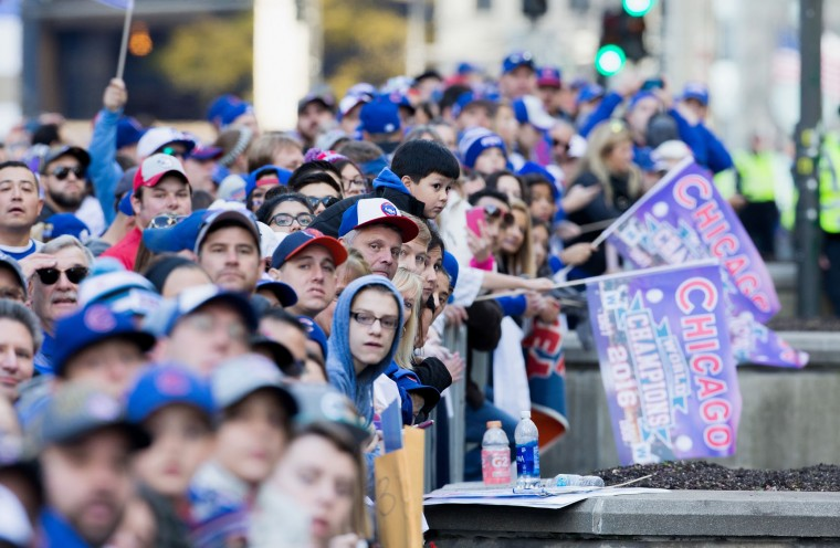 Thousands of Chicago Cubs fans pack Michigan Avenue during the Chicago Cubs 2016 World Series victory parade on November 4, 2016 in Chicago, Illinois. The Cubs won their first World Series championship in 108 years after defeating the Cleveland Indians 8-7 in Game 7. (Photo by Tasos Katopodis/Getty Images)