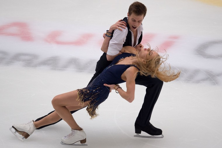 Kaitlyn Weaver and Andrew Poje of Canada perform during the Ice Dance short dance at the Cup of China ISU Grand Prix of Figure Skating in Beijing on November 18, 2016. (Nicolas Asfouri/AFP/Getty Images)