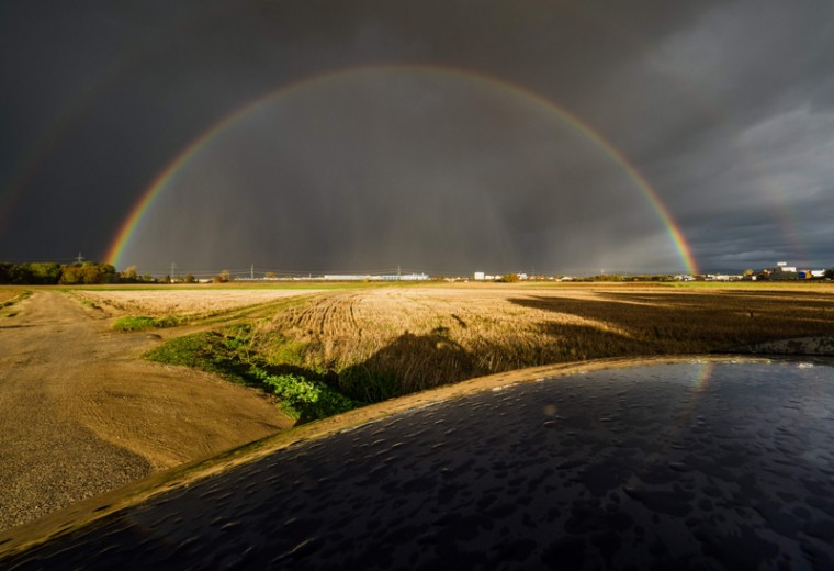 A double rainbow is pictured in Bamberg, southern Germany on November 2, 2016. (NICOLAS ARMER/AFP/Getty Images)