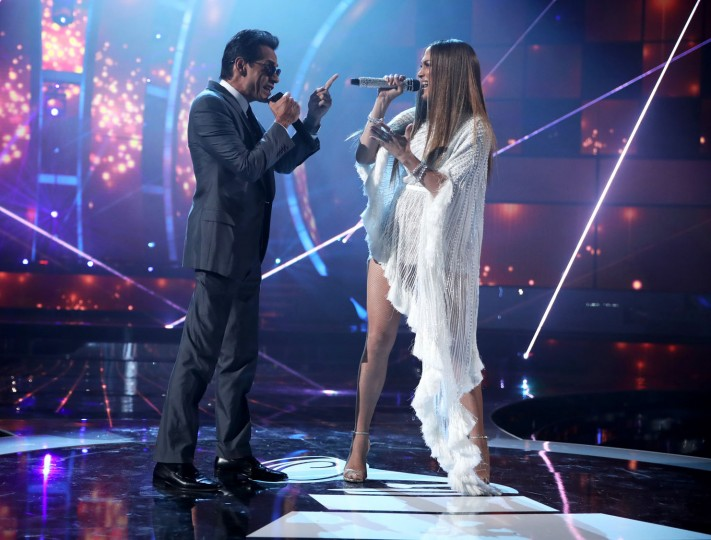 Marc Anthony (L) and Jennifer Lopez perform onstage during The 17th Annual Latin Grammy Awards at T-Mobile Arena on November 17, 2016 in Las Vegas, Nevada. (Photo by Christopher Polk/Getty Images for LARAS)