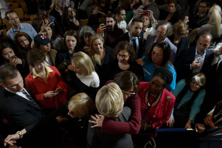 Former Democratic US Presidential candidate Hillary Clinton greets staff and supporters after addressing them at the New Yorker Hotel after her defeat last night in the presidential election November 9, 2016 in New York. (Brendan Smialowski/AFP/Getty Images)