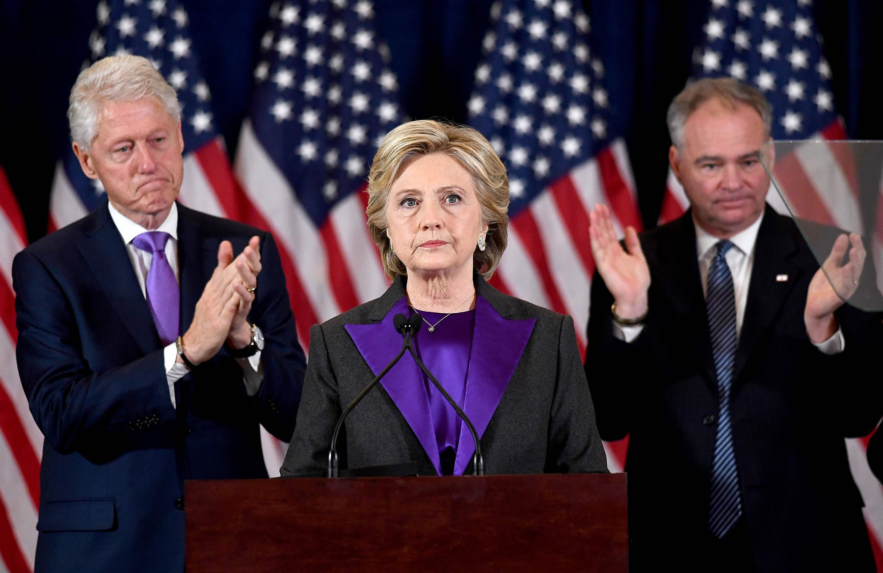 Hillary Clinton makes concession speech after defeat by Donald Trump