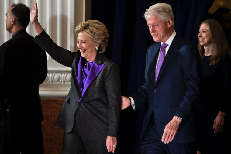 Former Democratic US Presidential candidate Hillary Clinton arrives with former US President Clinton and Chelsea Clinton to speak to staff and supporters at the New Yorker Hotel after her defeat in the presidential election November 9, 2016 in New York. (Brendan Smialowski/AFP/Getty Images)