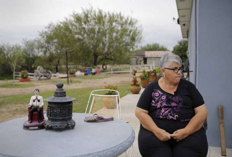 """In this Saturday, Nov. 12, 2016, photo, Aleida Garcia at her ranch in Los Ebanos, Texas. """"The wall is not going to stop anyone,"""" said Jorge Garcia, who expected to lose access to most of his 30-acre riverside ranch after the U.S. Border Fence Act was enacted a decade ago. (AP Photo/Eric Gay)"""