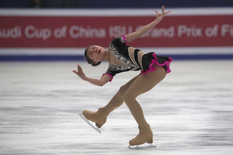Li Xiangning of China competes in the Ladies Short Program of the Audi Cup of China ISU Grand Prix of Figure Skating 2016 held in Beijing's Capital Gymnasium in Beijing, China, Friday, Nov. 18, 2016. (AP Photo/Ng Han Guan)