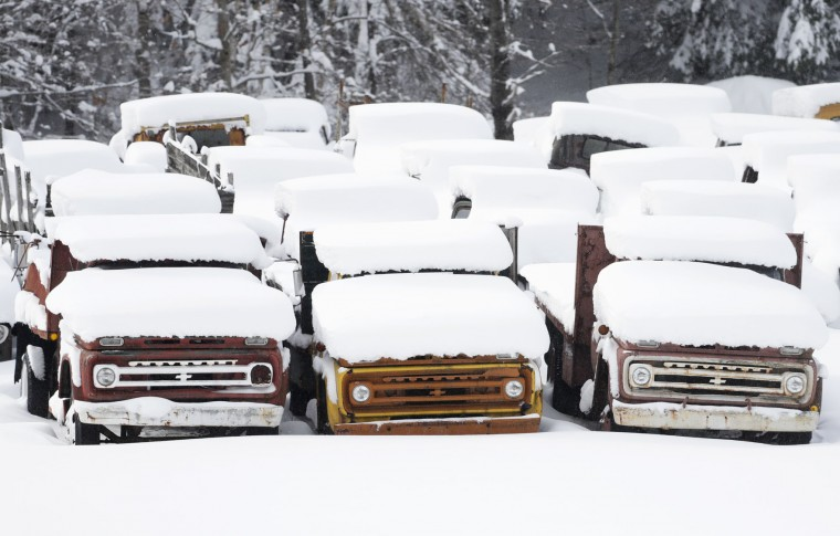 Vintage Chevy trucks are covered in snow at Adler's Antique Autos on Monday, Nov. 21, 2016, in Stephentown, N.Y. New York's first major snowstorm of the season has dumped nearly two feet of snow on parts of the upstate region. (AP Photo/Mike Groll)