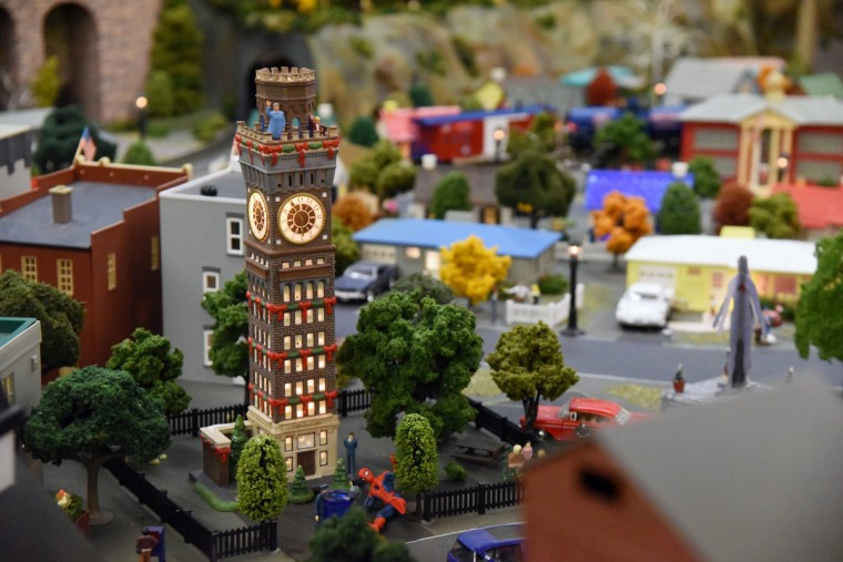 A model of the Bromo-Seltzer Tower, is part of The Fire Museum of Maryland 's annual train garden. The tower, originally known as the Emerson Tower, was built in 1911 and modeled on the Palazzo Vecchio in Florence, Italy.    (Kim Hairston/Baltimore Sun)
