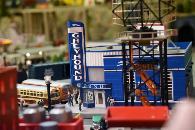 In addition to rail lines, The Fire Museum of Maryland's annual train garden features a Greyhound station like the 1940s era art deco former bus terminal in Baltimore.  Many local businesses and landmarks are represented in the model railroad display that opens on November 26. (Kim Hairston/Baltimore Sun)