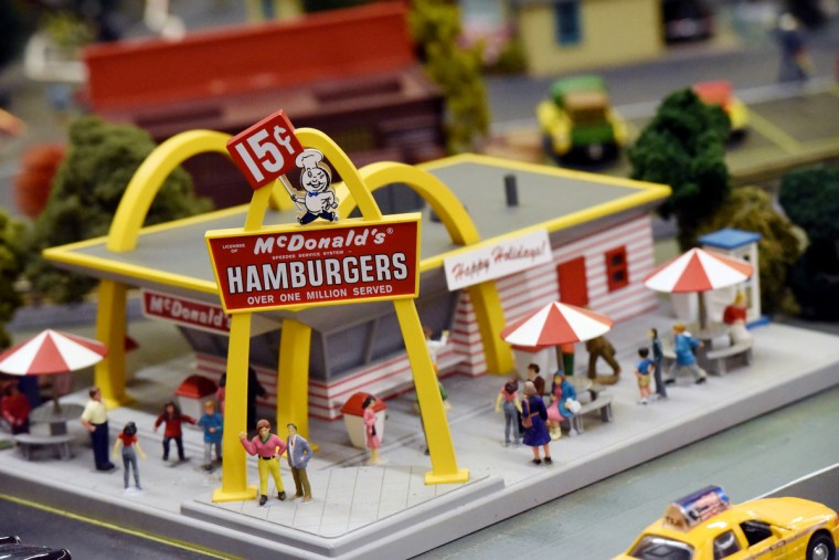 A model of the original McDonald's restaurant in The Fire Museum of Maryland's annual train garden attracts customers. The display opens on November 26.  (Kim Hairston/Baltimore Sun)