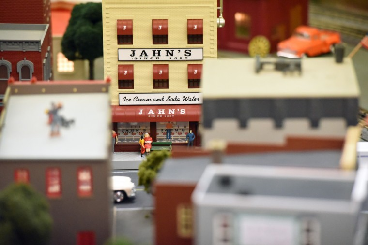 Jahn's, an ice cream parlor that opened in 1897 and closed in 2007, operated in New York, New Jersey and Florida, is one of many businesses featured in The Fire Museum of Maryland's annual train garden that opens on November 26.  (Kim Hairston/Baltimore Sun)