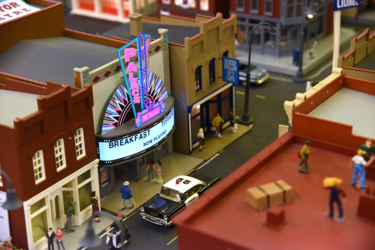 The Palace Theatre, now the Everyman Theatre, is located in a busy area of The Fire Museum of Maryland's train garden. The Palace was built in 1911 as the Empire Theater in Baltimore.   (Kim Hairston/Baltimore Sun)