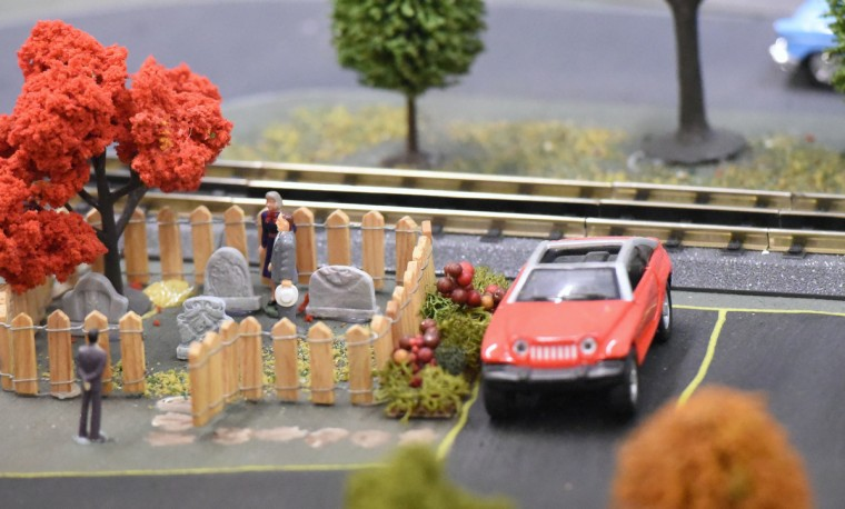 A small cemetery is included in The Fire Museum of Maryland's annual train garden.   (Kim Hairston/Baltimore Sun)