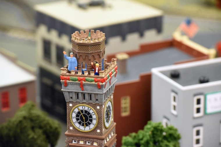 A model of the Bromo-Seltzer Tower, is part of The Fire Museum of Maryland 's annual train garden. The Baltimore landmark, originally known as the Emerson Tower, was built in 1911 and modeled on the Palazzo Vecchio in Florence, Italy.  (Kim Hairston/Baltimore Sun)