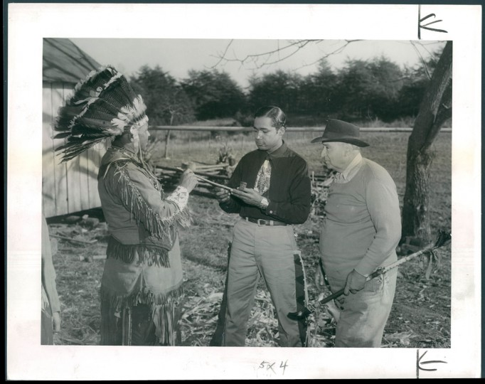 Though many Lumbee migrated to Baltimore, in May 1950, The Sun also wrote about a group that came to St. Mary's County in Maryland. A. Aubrey photographed two families that had been tenant farmers in North Carolina but were able to purchase land in Maryland. A Maryland Piscataway Indian named Philip S. Proctor had been encouraging Lumbee to craft Indian costumes and to revive old cultural practices like powwows.