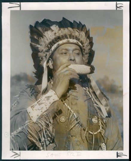 Chief Howling Wolf William Canady eats ceremonial corn. (A. Aubrey Bodine/Baltimore Sun) Though many Lumbee migrated to Baltimore, in May 1950, The Sun also wrote about a group that came to St. Mary's County in Maryland. A. Aubrey photographed two families that had been tenant farmers in North Carolina but were able to purchase land in Maryland. A Maryland Piscataway Indian named Philip S. Proctor had been encouraging Lumbee to craft Indian costumes and to revive old cultural practices like powwows.