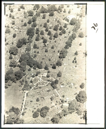 Aerial view of Green Mount Cemetery, September 28, 1976. (Baltimore Sun)