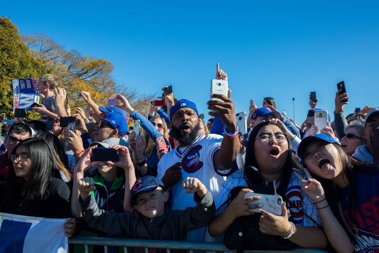 Fans celebrate the World Series champion Chicago Cubs during a parade and a rally in Grant Park in Chicago on Friday, Nov. 4, 2016. (Zbigniew Bzdak/Chicago Tribune/TNS)
