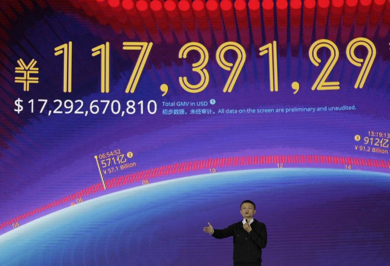 "Alibaba Group Chairman Jack Ma speaks on the ""Singles' Day"" global online shopping festival in Shenzhen, southern China's Guangdong province Friday, Nov. 11, 2016. In a bright spot for China's cooling economy, online shoppers spent billions of dollars Friday on ""Singles Day,"" a quirky holiday that has grown into the world's busiest day for e-commerce. (AP Photo/Kin Cheung)"