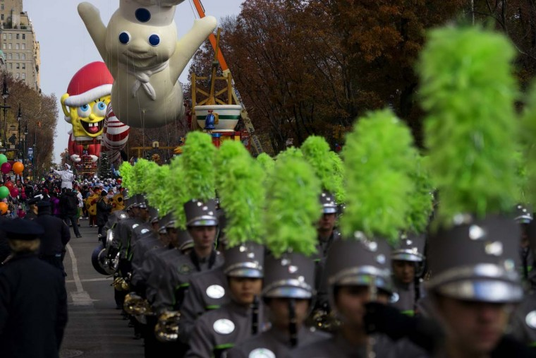 The Macy's Thanksgiving Day Parade moves along Central Park West in New York Thursday, Nov. 24, 2016. (AP Photo/Craig Ruttle)