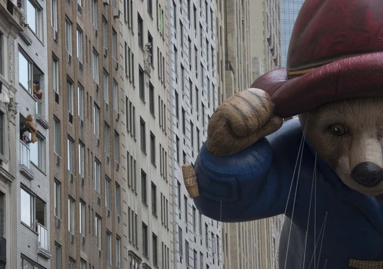 The Paddington Bear balloon is moved across Central Park South during the Macy's Thanksgiving Day Parade, Thursday, Nov. 24, 2016, in New York. (AP Photo/Bryan R. Smith)
