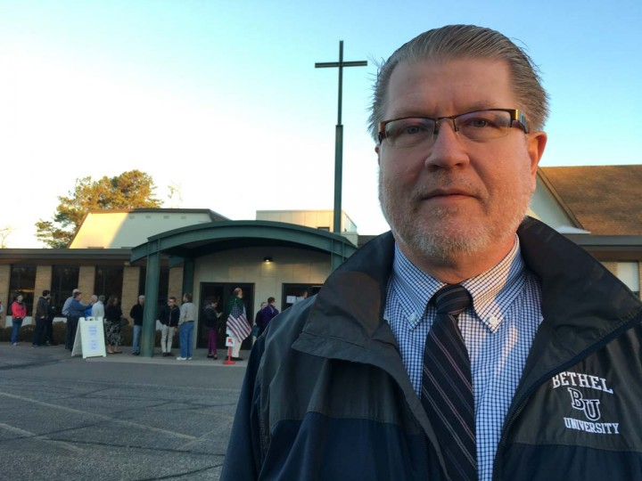 """David Hansen, 63, of Roseville, Minn., poses for a photo outside the church where he just voted, Tuesday, Nov. 8, 2016. Hansen, a Republican, said he voted for Libertarian candidate Gary Johnson because the major parties are too """"out of line."""" (AP photo/Amy Forliti)"""