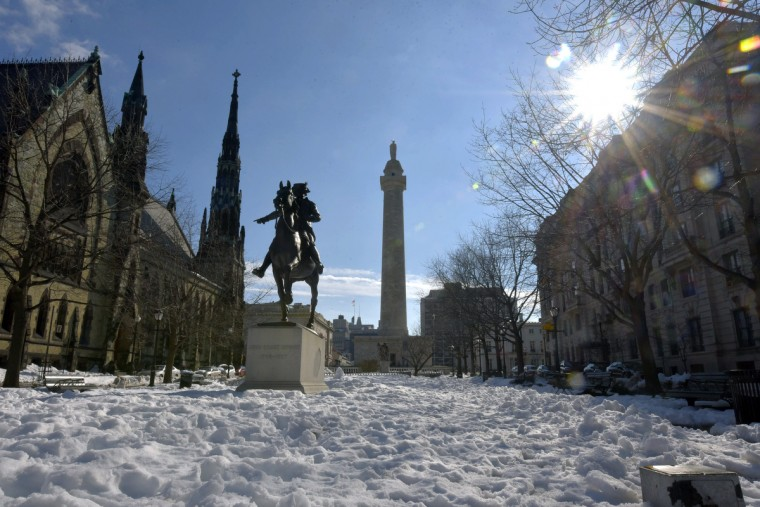 The John Eager Howard monument at Washington Place in Mount Vernon sits atop a bed of crumpled snow after Saturday's Blizzard of 2016. Howard led a bayonet charge at the Battle of Cow Pens in the Revolutionary War, and was a delegate to the Continental Congress in 1788. He was also Maryland's governor for three years (1788-1791); a state senator and United States congressman. The statue site was formerly a part of Howard's estate.  (Algerina Perna/Baltimore Sun)