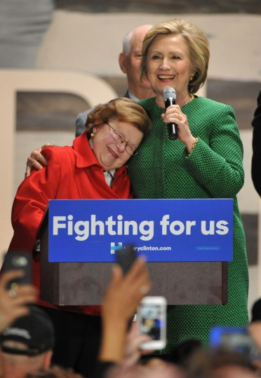 Democratic presidential candidate Hillary Clinton, right, embraced Senator Barbara Mikulski as she praised the retiring Senator Mikulski for the advice she gave Clinton as a new Senator from New York. Mikulski, one of the early speakers, endorsed Clinton at a grassroots organizing event at Sagamore Ventures's City Garage.  (Amy Davis/Baltimore Sun)