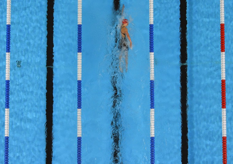 Having already broken away from the rest of the field,Katie Ledecky swims alone on her way to victory in the Women's 800M Freestyle during the 2016 U.S. Olympic Team Trials in Omaha. (Karl Merton Ferron / Baltimore Sun)