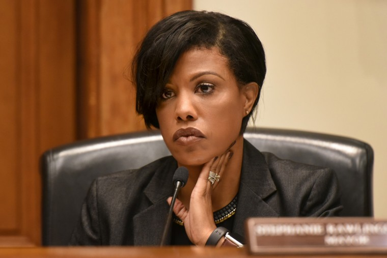 Mayor Stephanie Rawlings Blake listens to public testimony before the vote on the proposed hike in Baltimore city water rates, which the Board of Estimates voted to approve the increase, 3-2. The Mayor said it was needed for long-delayed infrastructure repairs. (Amy Davis/Baltimore Sun)