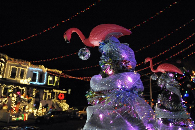 Pink flamingos adorn Christmas trees on 34th Street in Hampden.   (Lloyd Fox/Baltimore Sun)