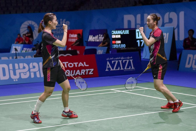 Ying Luo and Luo Yu of China celebrate after winning a point against Chang Ye Na and Lee So Hee of Korea during their women's doubles match at the Dubai World Superseries Finals badminton tournament at the Hamdan Sports Complex in Dubai on December 14, 2016. (Stringer/AFP/Getty Images)