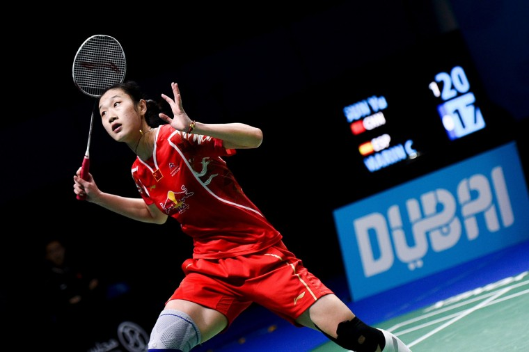 Sun Yu from China plays against Carolina Marin from Spain during their women's singles at the Dubai World Superseries Finals Badminton Tournament in Dubai on December 14, 2016. (Stringer/AFP/Getty Images)