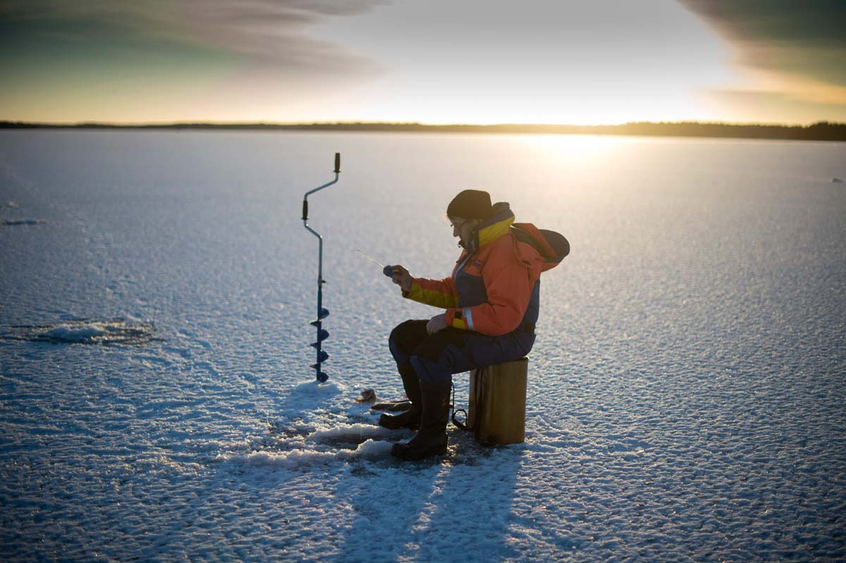 Ice-fishing on Finland's Bothnia Sea