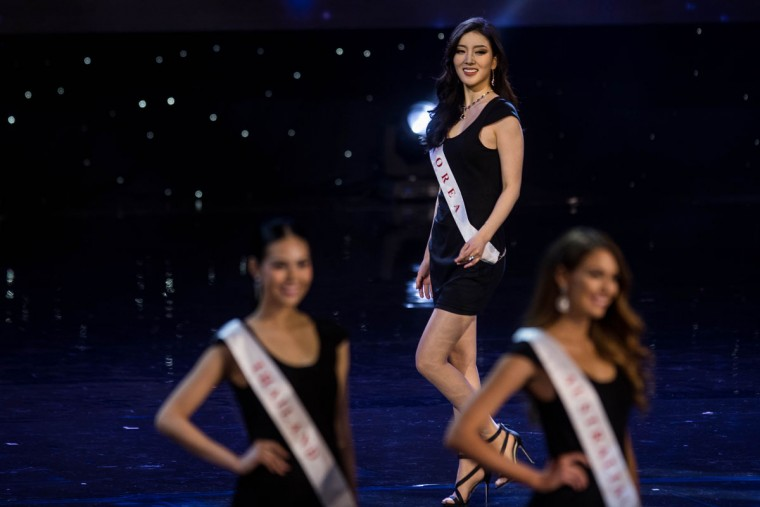 Miss South Korea Hyun Wang is pictured during the Grand Final of the Miss World 2016 pageant at the MGM National Harbor December 18, 2016 in Oxon Hill, Maryland. (AFP PHOTO / ZACH GIBSON)