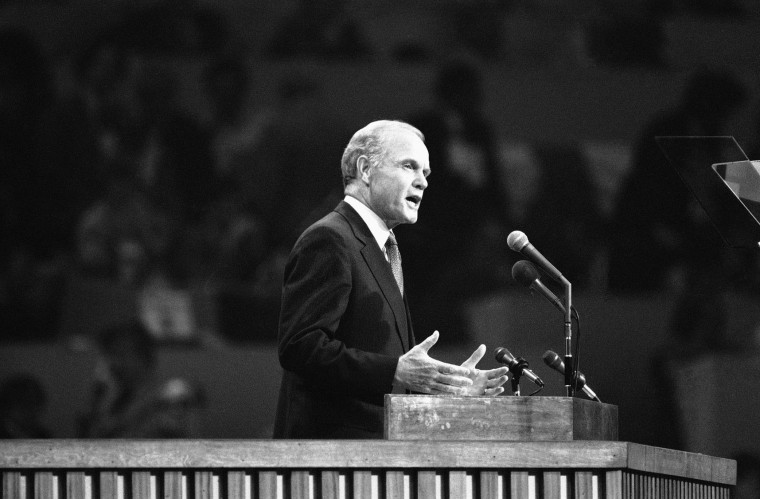 "Sen. John Glenn of Ohio addresses the Democratic National Convention on July 12, 1976 in New York as one of the two keynote speakers. He called for an end to divisiveness and despair and an American future ""in which we can all be proud patriots."" (AP Photo)"