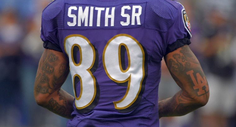 Baltimore, MD -- 10/02/2016 -- Baltimore Ravens wide receiver Steve Smith (89) during pre game before playing the Oakland Raiders. (Karl Merton Ferron / Baltimore Sun Staff) [FBN RAIDERS RAVENS (DSC_6243.JPG)]