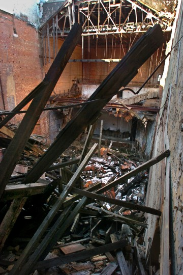 Looking toward the stage, inside the Mayfair Theater in January 2008, when Accent Development Co. of Washington D.C. was planning to renovate the theater into apartments and retail space. The plans never came to fruition during the economic downturn.  (Amy Davis/Baltimore Sun)