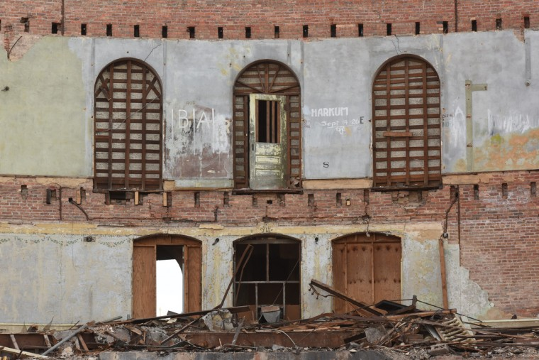 Upper levels of the former balconies at the Mayfair. This part of the theater will not be torn down. The partial demolition of the Mayfair theater on N. Howard Street is nearing completion.   (Amy Davis/Baltimore Sun)