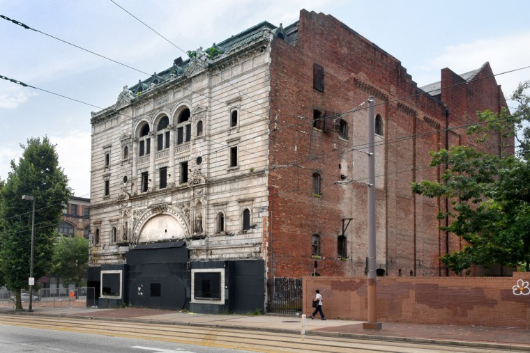 View of the Mayfair from June 2016, before the north wall, seen at right, was partially demolished. (Amy Davis/Baltimore Sun)