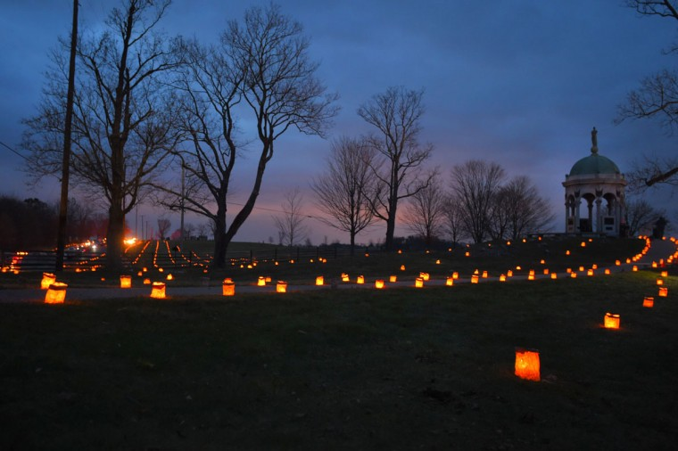 Luminaries illuminate the Antietam Remembered path, which heads toward the Maryland Monument during the 28th Annual Memorial Illumination of over 23,000 luminaries at Antietam National Battlefield. (Karl Merton Ferron/Baltimore Sun)