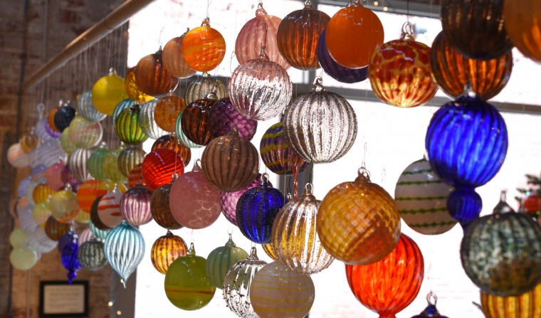 Some of the many glass ornaments he has made in his studio.  (Lloyd Fox/Baltimore Sun)