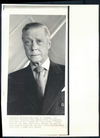The Duke of Windsor in undated photo.