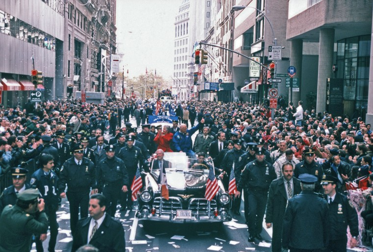 Former Astronaut Senator John Glenn gets a ticker tape parade to welcome him back from his return to Space on the Shuttle, New York, New York, November 16, 1998. (Photo by Allan Tannenbaum/Getty Images)