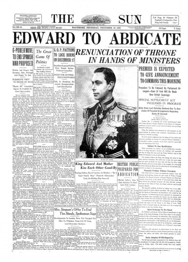 The Baltimore Sun announcing King Edward VIII's abdication.