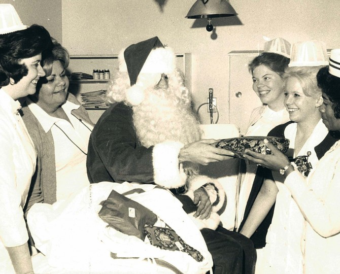 Santa Claus visits Lutheran Hospital in 1972. (Weyman D. Swagger)